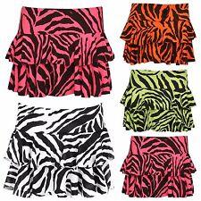 New Ladies Girls Plain Zebra Printed  Rara Mini Short Skirt Zebra Top