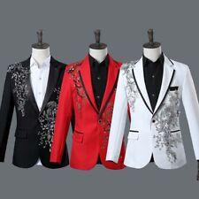 Mens Rhinestone Blazer One Button Tuxedos Suits Lapel Collar Coat Pants Sz S-XXL