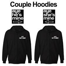 Couples Gift set Aye He's Mine Aye She's Mine Zipper Hoodie Sweat Jackets NEW