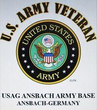 USAG ANSBACH ARMY BASE* ANSBACH-GERMANY U.S.ARMY VETERAN W/ARMY EMBLEM*SHIRT