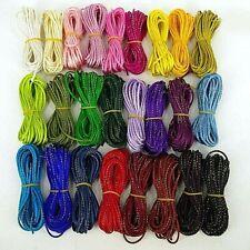 Rattail, Kumihimo ,Braiding, Cord with glitter, 2 mm Thickness Macramé Thread 5m