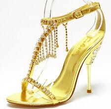 New women's shoes stilettos rhinestones blink evening wedding prom party gold