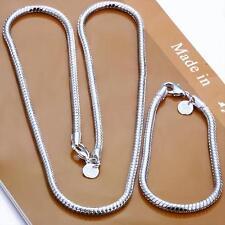 925 Silver Snake Bone Chain Men Women Necklace Bracelet Set 3MM SY076