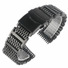 Luxury 20mm 22mm 24mm Stainless Steel Mens Watch Band Shark Mesh Wrist Strap