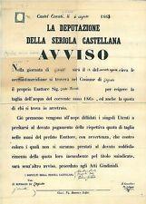 MANIFESTO ANTICO - CASTELCOVATI - LOGRATO 1863