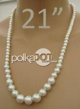 NUOVO color crema Graduato Vetro Perla Perlina Collana Regalo J004