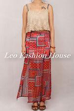 Bohemian Printed High Waist Double Split Maxi Skirt