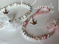Bling *Princess* Shamballa & Crystal Romany Dummy Clip Personalised Pink White