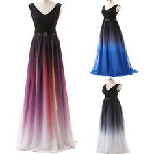 Cheap Gradient Chiffon Evening Dress Long Party Prom Formal Bridesmaid Dresses