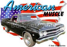 1965 Black Chevy El Camino Custom Hot Rod USA T-Shirt 65 Muscle Car Tees