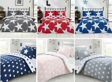 Stars Grey Blue Pink Red Reversible Single Double King Duvet Cover Bedding Set