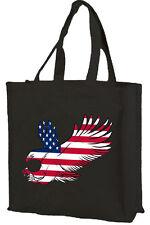 AQUILA Bandiera Americana Cotone Shopping Bag, USA-scelta di colori.