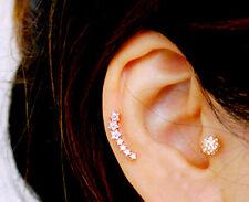 CZ Dainty curved cartilage earring fashion studs cute ear sweep ear Climbers