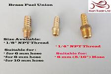 """OTTONE DRITTO POMPA OLIO combustibile Unione 1/4 """" 1/8"""" NPT thread x 6mm 8mm 10mm PUSH Tail"""
