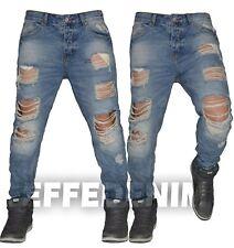 Jeans Uomo Strappati Sfilacciati Denim Pantaloni Ripped 6 Tasche Nuovo 1630
