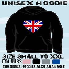 UNION JACK UK GB SHAPED I LOVE HOODIE HOODED TOP
