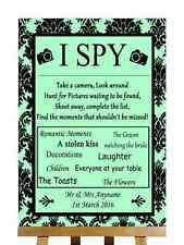 MENTA verde nero damascato mi SPY FOTO CAMERA personalizzata Nozze segno