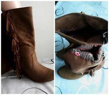 botte a frange femme bottine velours talon compensé 18,5 cm chaussure neuf