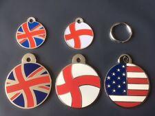 Engraved Cat / Dog / Pet ID tag Patriot Flags - England, Union Jack, America etc