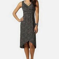 Daisy Fuentes Misses Polka Dot Shift Jersey Knit Faux Wrap Dress M Medium