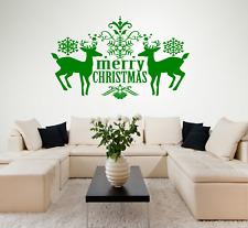 MERRY CHRISTMAS Reindeer, Vinyl Wall Art Sticker - 16 colours - ct21