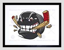 Ilustración De Pintura Dibujos Animados Hockey Sobre Hielo Puck Angry impresión arte enmarcado B12X13499
