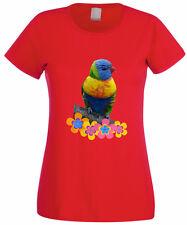 T-SHIRT DONNA PAPPAGALLINO FIORI PAPPAGALLO MAGLIETTA PARROT LADY sweet bird