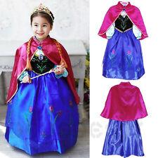 Kinder Mädchen Eiskönigin Frozen Elsa Anna Tüll Kleid Kostüm Cosplay Dress