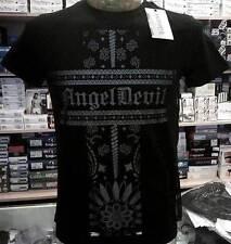T-shirt uomo Angel Devil girocollo con stampa logo e retina davanti art TU08