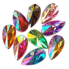 50pcs 7x13mm TEARDROP AB Flatback Acrylic Crystal Rhinestone Embellishments Gem
