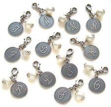 John Wind MAXIMAL ART Silver Mini Coin Pearl Initial CHARMS Bracelet Jewelry New