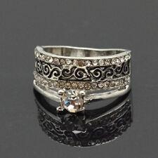 Luxus Ring Strass Damenringe Fingerringe Kristall Versilbert Paris Premiun