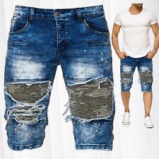Zerrissene Herren Jeans Shorts Used Stone Washed Biker Farbe Spritzer Tarnmuster