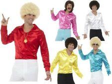anni '60 Disco Camicia adulti MODA SATIN Multi Costumi fantasiosi da uomo maglia