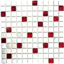 Glasmosaik Aluminium silber silver mit rot Metall Bad WC | 49-O301F_f |10 Matten