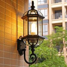 Vintage Black/Brass Lantern Glass Shade 1 Lamp Waterproof Outdoor Wall Lights