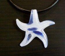 "Starfish Necklace Blue White Handmade Lampworked Glass Pendant 18"" Cord Jewelry"