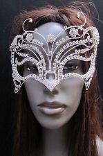 Women Metal Eye Mask Fancy Fashion Mardi Gras Carnival Silver Bling Halloween