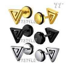 TT Surgical Steel Triangle Fake Ear Plug Earrings Body Piecing (BE57)
