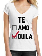 Juniors Te Amo Te Quila White V-Neck T-Shirt Funny Cinco De Mayo Drunk Rave B594