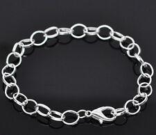 Wholesale Lots Silver Plated Chain Bracelets Fit Clip On Charm DIY 20cm
