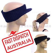 BEANIE VISOR CAP HAT Peak Brim Unisex Ear Warmer Sports Hair Head Band Headband
