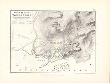 Carte/plan de bataille ~ plan de siège de tarragone par armée française d'aragon juin 1811