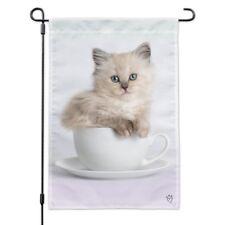 Ragdoll Tiffany Cat Kitten Tea Cup Ride Garden Yard Flag
