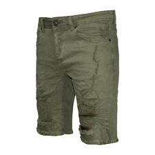 Bermuda Uomo Verde Militare Pantaloni Corti Casual Cotone Strappato Rotture