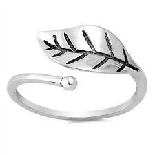.925 Sterling Silver Adjustable Leaf Fashion Ring Size 3-10 NEW