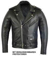 Biker Lederjacke Motorradjacke aus Leder Motorrad Jacke Schwarz mit Protektoren