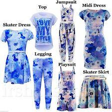 infantil Nueva Temporada Azul Estampado Floral Leggings Skater