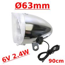 FEU AVANT DYNAMO ROND D63mm ACIER CHROME LAMPE VELO VINTAGE RETRO VILLE ROUTE