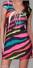 Multi Color Zebra/Tiger Stripe Sublimation Cap Sleeve Dress S/M/L